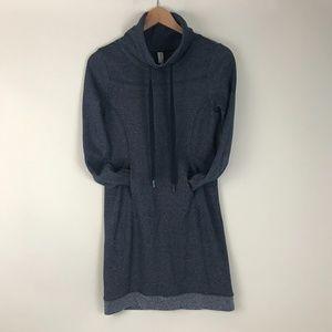 Cowl neck sweatshirt dress with contrasting trim